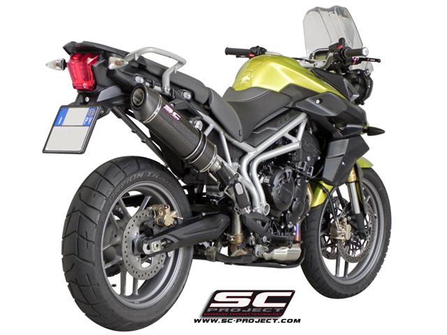 sc project pot triumph tiger 800 xc oval carbon t06 h02c la boutique moto en ligne. Black Bedroom Furniture Sets. Home Design Ideas