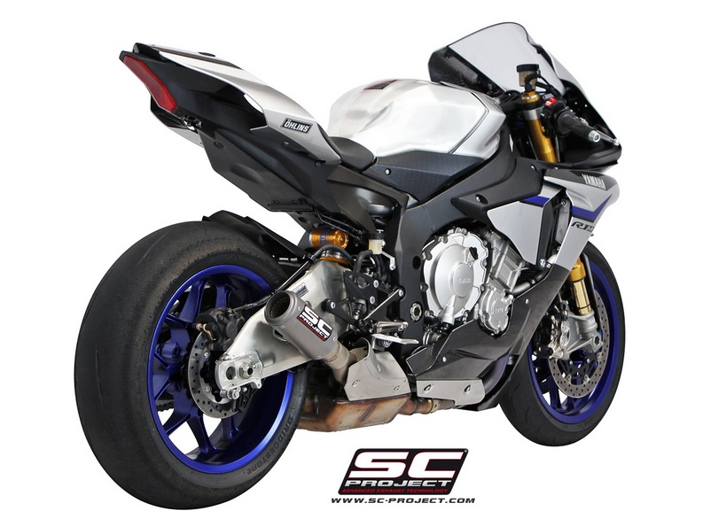 sc project slip on yamaha yzf r1 r1m 2015 cr t titanium race for original catalyst y11. Black Bedroom Furniture Sets. Home Design Ideas