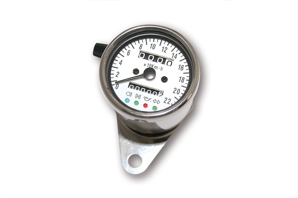 Stainless steel speedometer, D= 60mm, white illuminating, white scale