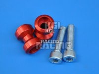 Bobbins (spools), swing arm adapter for M/C racing stand, alu, red, M10 x 1.5 mm, pair.