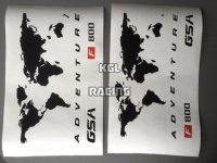 BMW F800GSA wereldmap koffers sticker (set links-rechts)