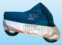 motorcycle cover, size S, Polyester, blue/silver - for motorcycles 125-350 ccm