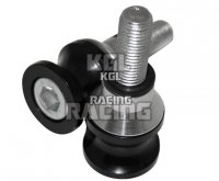 Bobbins (diabolo's), alu, noir, M10 x 1.25 mm, paire, diametre 25 mm, longeur 23 mm. Y compris une bague de distance supplementa