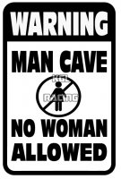 Aluminium parking bord 22 cm x 30 cm - MAN CAVE NO WOMAN ALLOWED