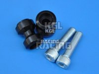 Bobbins (spools), swing arm adapter for M/C racing stand, alu, black, M10 x 1.5 mm, pair.