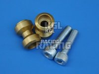 Bobbins (spools), swing arm adapter for M/C racing stand, alu, gold, M10 x 1.5 mm, pair.