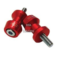 TITAX Bobbins (spools), swing arm adapter for M/C racing stand, alu, red, M10 x 1,25 mm, pair.