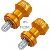 TITAX Bobbins (spools), swing arm adapter for M/C racing stand, alu, gold, M10 x 1,25 mm, pair.
